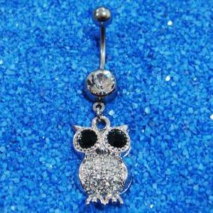 Bling Owl Crystal Gem Belly Button ..