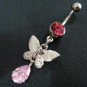 14g 3/8 Butterfly CZ Belly Button N..