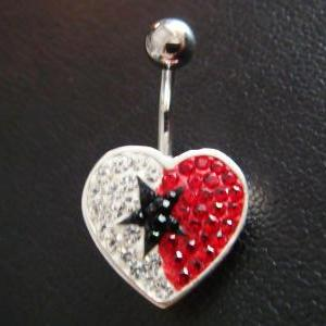 14g Cute heart love star belly ring..