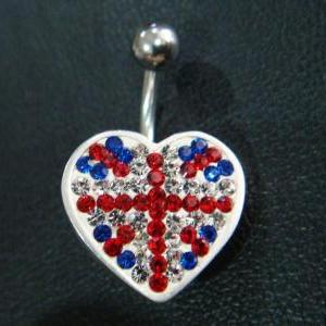 14g Cute heart love belly rings nav..