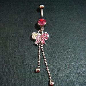 Pink Bling Dangle Bow Crystal Gem B..