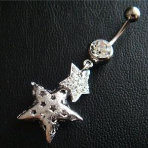 14g~3/8 Star Dangle Belly Button Na..