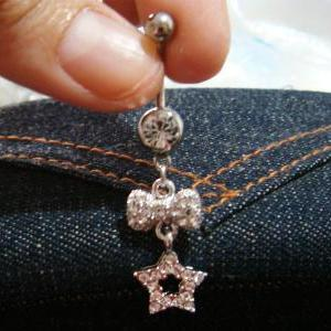 14g Bling Dangle Bow Star Crystal G..