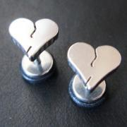 Heart LOVE Fake Ear Plugs Rings Earlets Earrings Body Piercing Jewelry