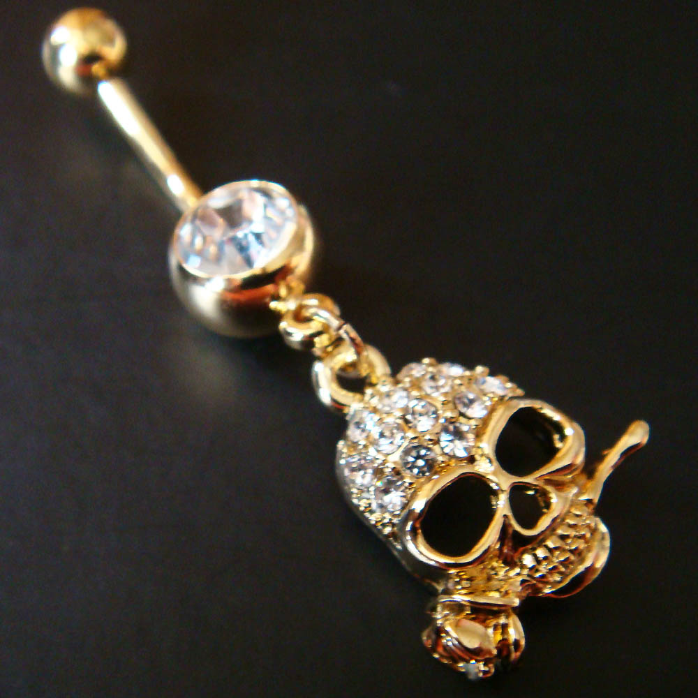 product gift naval navel button skull jewelry bar ring belly hugerect body rings piercing slash