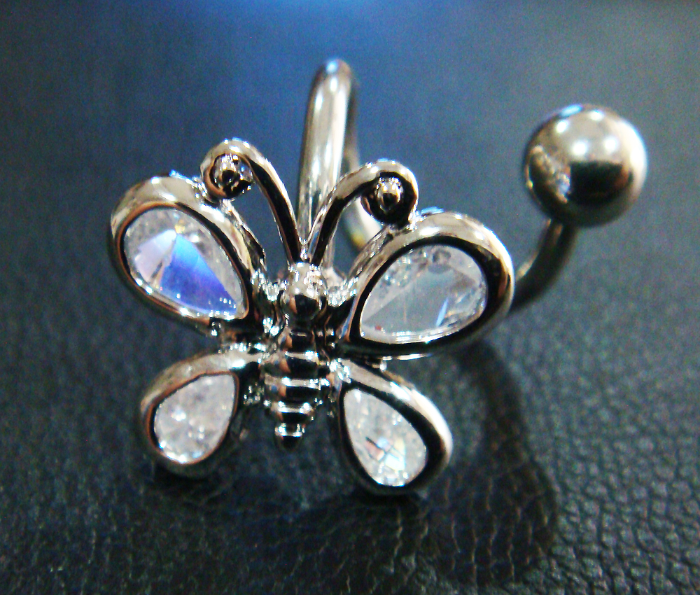 ONE PIECE 14g~3/8 Spiral Belly Button Navel Rings Bar Butterfly Body Piercing Jewelry