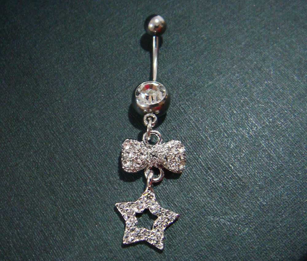 14g Bling Dangle Bow Star Crystal Gem Belly Button Navel Rings Bar Body Piercing Jewelry