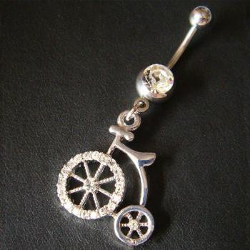 14g Old-Bicycle Bike Belly Button Navel Rings Bar Body Piercing Jewelry GIFT