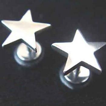 3-Size choose ONE PAIR Star 16g Fake Ear Plugs Rings Earlets Earrings Body Piercing Lobe