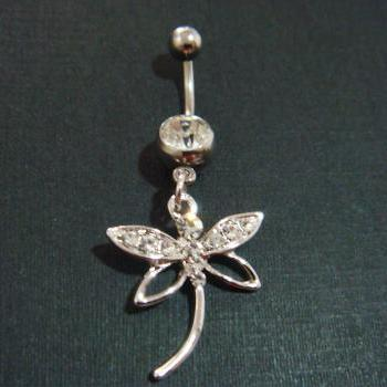 Dragonfly Belly Button Navel Rings Ring Bar Body Piercing Jewelry