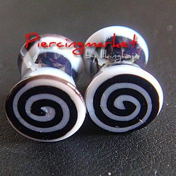 ONE PAIR 2g Snail Double Flare Ear Plugs Ring Earlet Earrings lobe Body Piercing