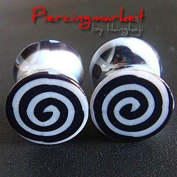ONE PAIR 0g Snail Double Flare Ear Plugs Ring Earlet Earrings lobe Body Piercing