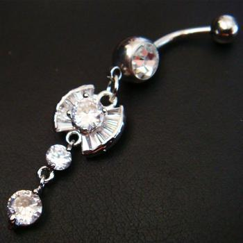 14g Bling Dangle CZ Belly Button Navel Rings Bar Body Piercing Jewelry